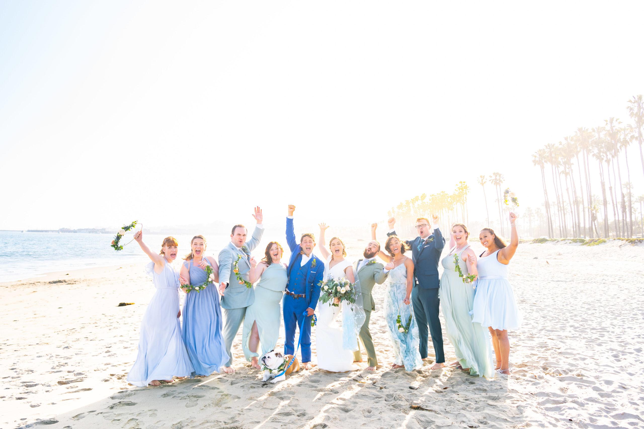 Santa Barbara beach bridal party