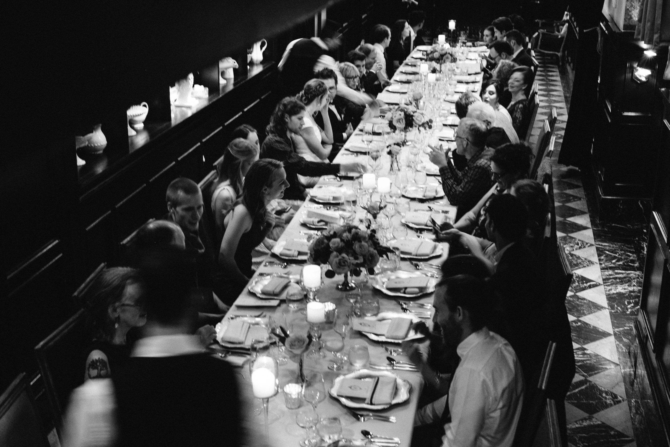 Intimate wedding dinner at Culver Hotel