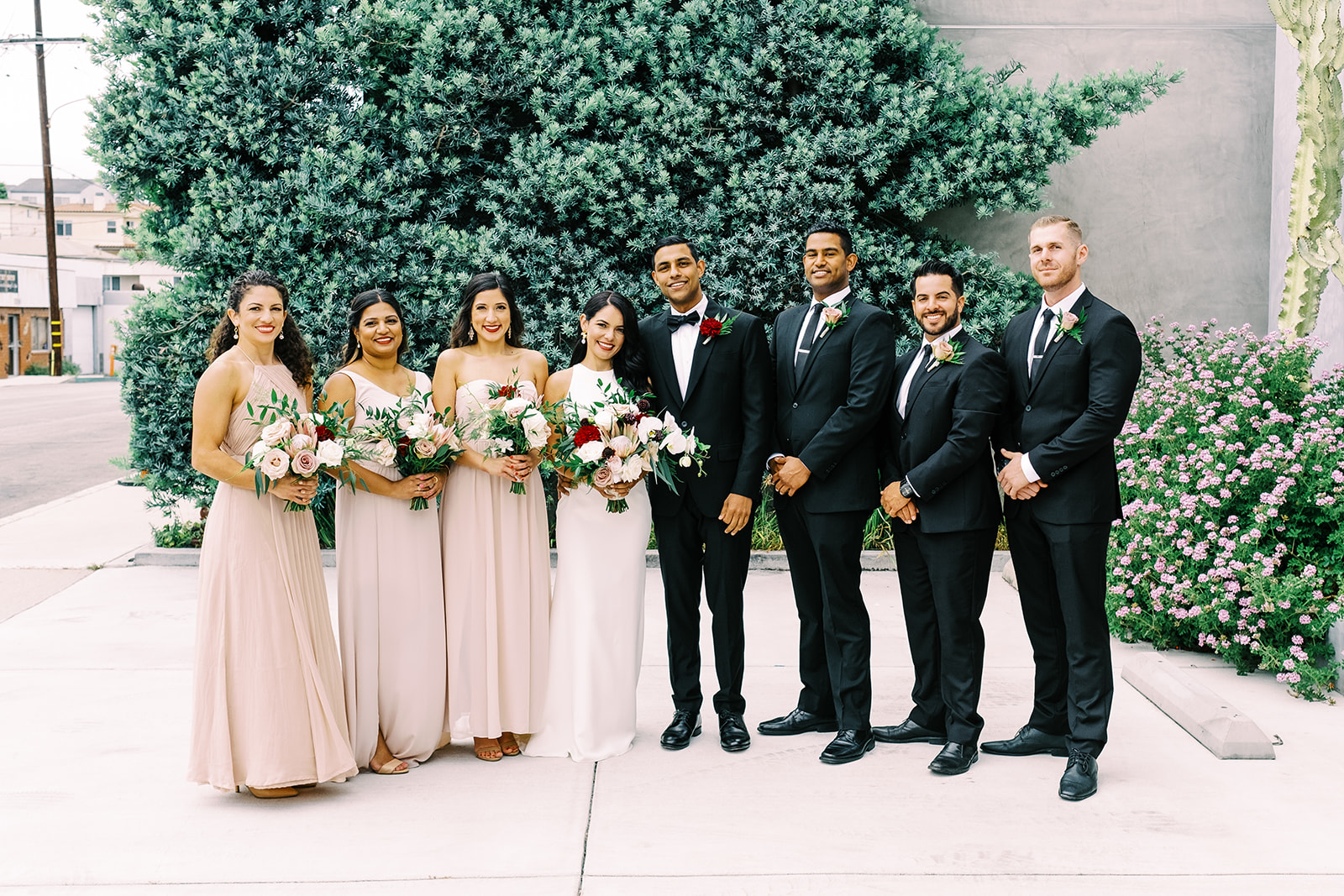 Pink and Black Bridal Party Style