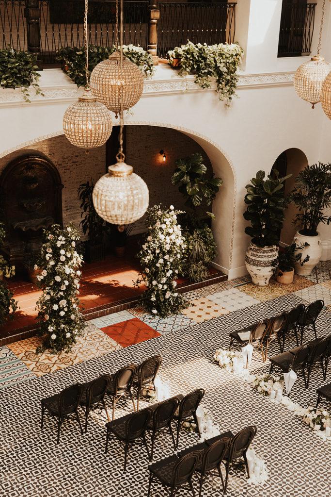 indoor micro-wedding ceremony in historic architecture