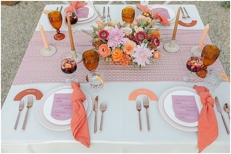 pink and peach wedding tablescape