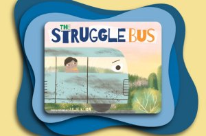 The Struggle Bus Book Cover Image on Blue and Yellow Background