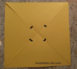 Cut each fold line until about 1 each from the center