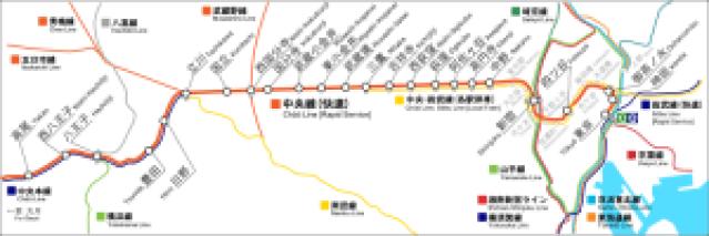 中央線路線図(地図型)