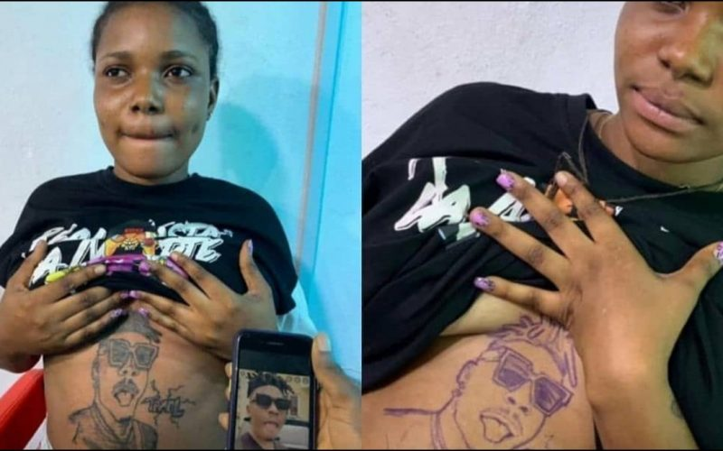 Lady Tattoos Mayorkun Face On Her Stomach