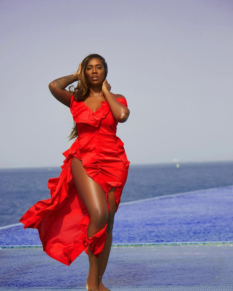 Singer Tiwa Savage Causes A Stir On The Internet With Her Jaw-Dropping Photos In A Waterfall