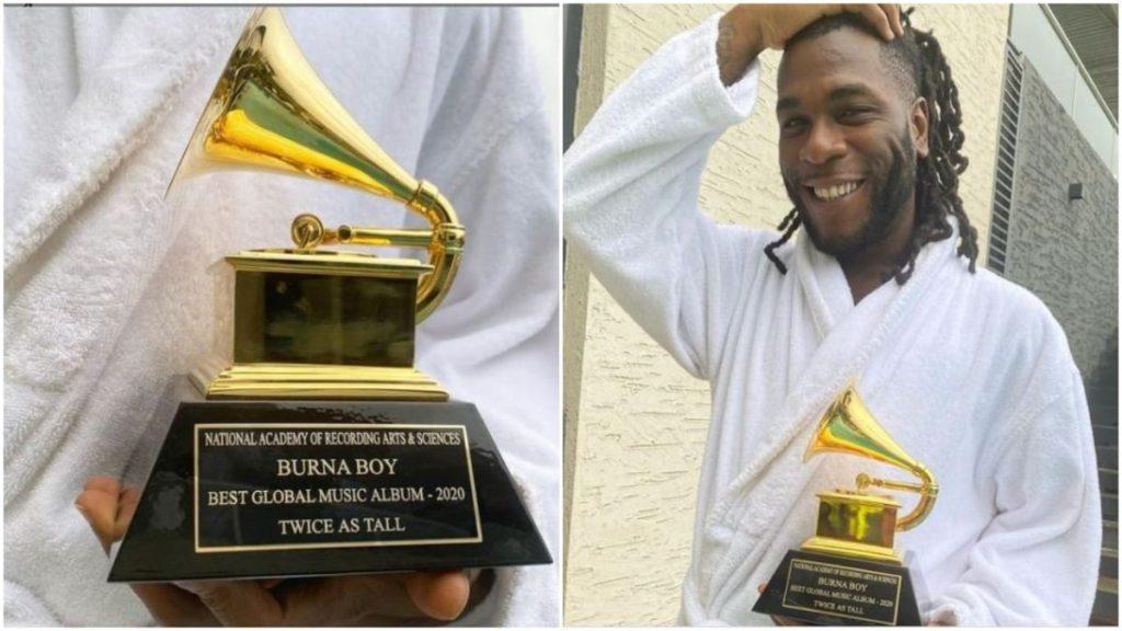 burna boy grammy award plaque