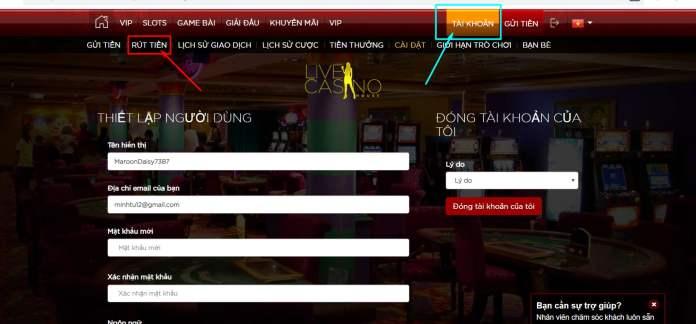 Cách rút tiền Live Casino House