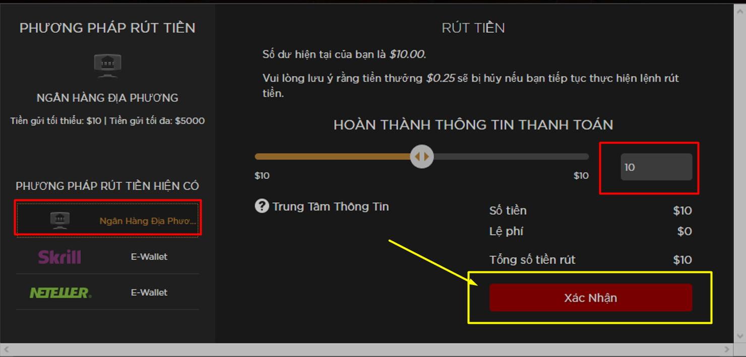Cách rút tiền trong Live Casino House