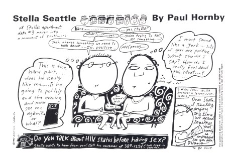 """Stella Seattle"" postcard, by Dominic Cappello. [Series 1825, History files, Seattle-King County Department of Public Health: Prevention Division / HIV-AIDS Program. 1825-6-10.]"