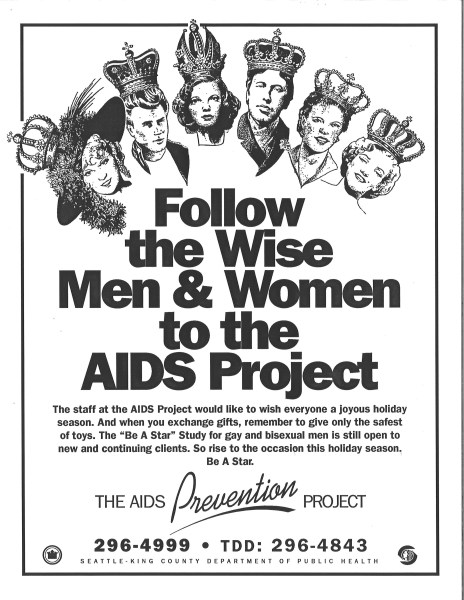 "Poster advertising the Be a Star study, ca. 1987. ""Stars"" (Mae West, James Dean, Judy Garland, Oscar Wilde, Billie Holiday, and Marilyn Monroe) were assigned to subjects in a system designed to allow long-term, anonymous participation. [Series 1825, History files, Seattle-King County Department of Public Health: Prevention Division / HIV-AIDS Program. 1825-6-5.]"
