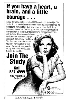 "Poster advertising the ""Be a Star"" study (ca. 1987-). Judy Garland was one of the ""stars"" assigned to subjects, in a system designed to allow long-term, anonymous participation. [Series 1825, History files, Seattle-King County Department of Public Health: Prevention Division / HIV-AIDS Program. 1825-2-13.]"