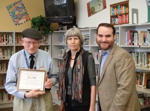 Courtesy photo: Laury Minard receives the Tyrone Love Unsung Hero Award, Anne Knight and Bill Mahoney, Jr., vice president of the Madrona Community Council.
