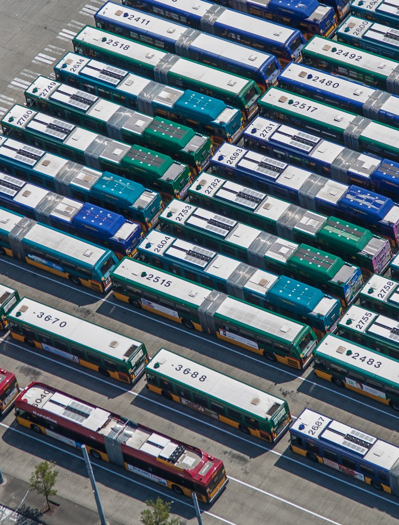 aerial photo of Metro bus fleet
