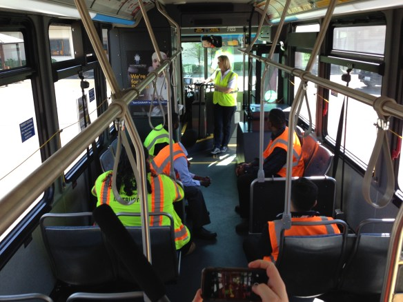 Photo of bus with operators in training