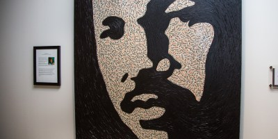 Rev. Dr. Martin Luther King Jr. artwork made from Metro Transit transfer slips