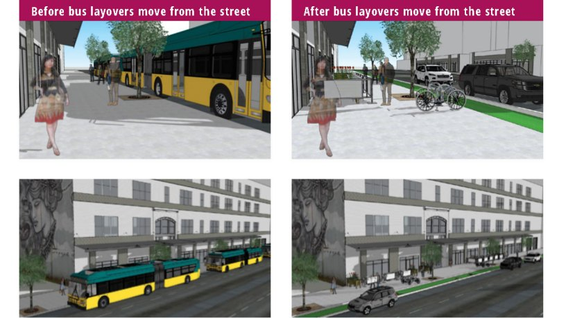Buses park on sides of streets, vs not