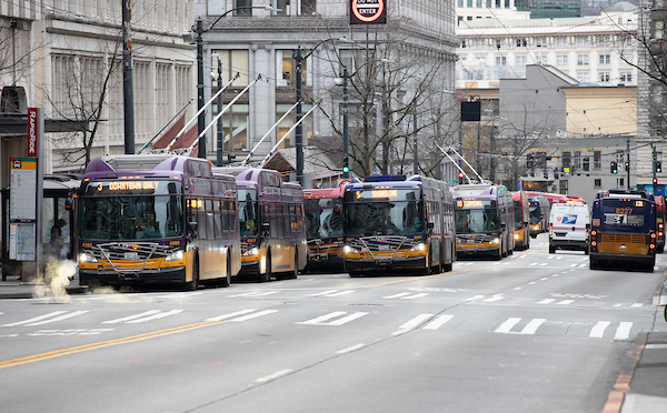 Buses line up to pick up passengers in downtown Seattle
