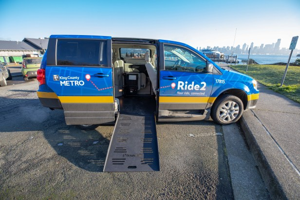 King County Metro Ride2 van with wheel chair ramp extended in West Seattle