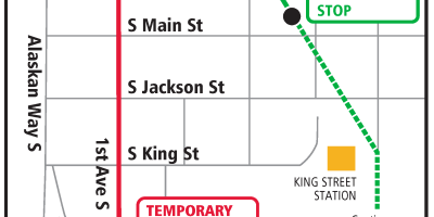 The Thursday August 15 reroute showing the First and King southbound bus stop closure for THURSDAY ONLY. A temporary stop is on Second Avenue South Extension between Washington and Main Streets