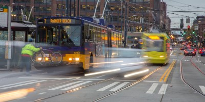 Motion photo of Route 7 and streetcar moving