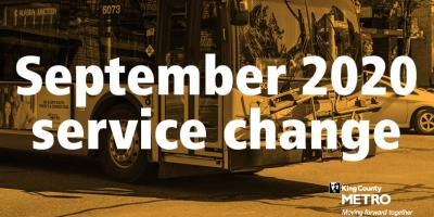 Graphic saying September 2020 service change over image of a bus