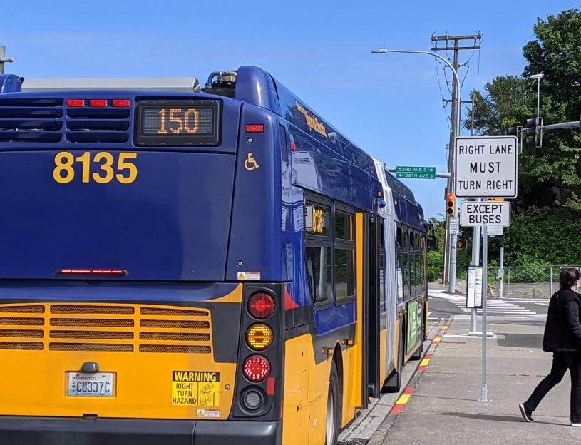 Route 150 departs Tukwila Park & Ride