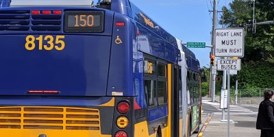 Route 150 departs Tukwila Park & Ride