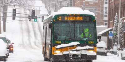 Route 2 bus travels in Queen Anne