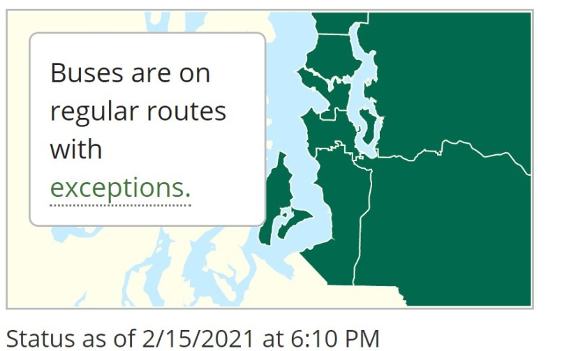 """Snow reroute map shows all green areas, text reads """"Buses are on regular routes with exceptions"""" and a """"Status as of 2/15/2021. at 6:10pm"""