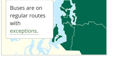 "Snow reroute map shows all green areas, text reads ""Buses are on regular routes with exceptions"" and a ""Status as of 2/15/2021. at 6:10pm"