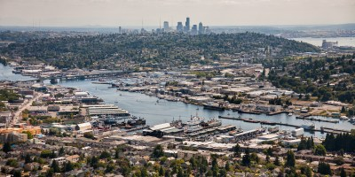 Southward aerial view from Ballard toward downtown Seattle