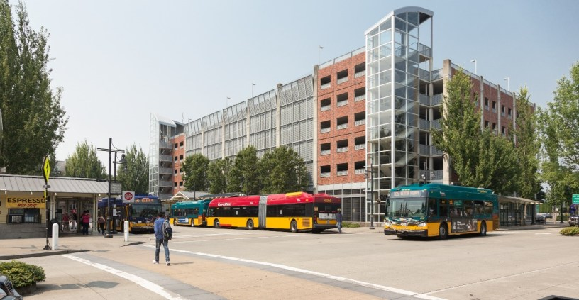 Photo of buses at a transit center