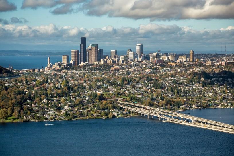 Aerial view of Seattle Skyline across Lake Washington