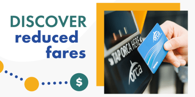 Text on graphic of a trail of circles connected by dots ending in a dollar sign: Discover reduced fares. Photo of hand holding an ORCA card tapping at a card reader.