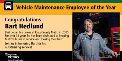 Bart Hedlund, Metro's 2021 Vehicle Maintenance Employee of the Year