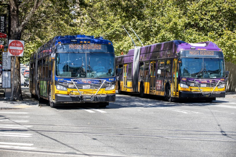Two Metro buses near Pioneer Square