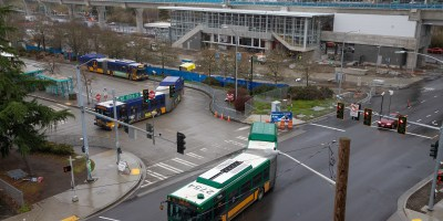 View of Northgate Transit Center and light rail