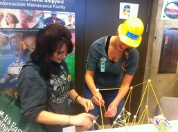 Visitors take part in hands-on activities at the Women in Trades Fair