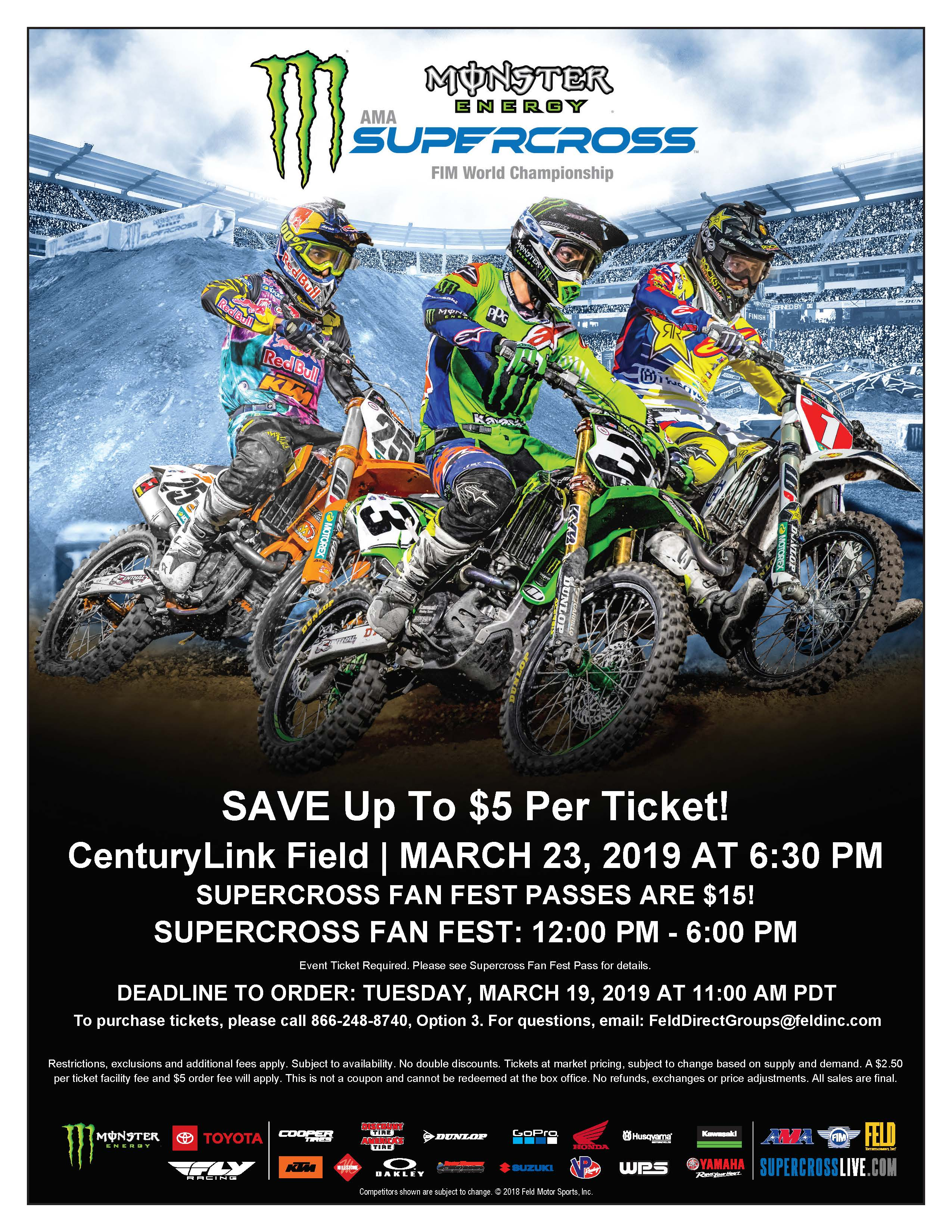 employee discounts to monster jam and