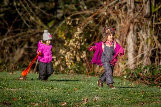 Children showing some advanced walking skills