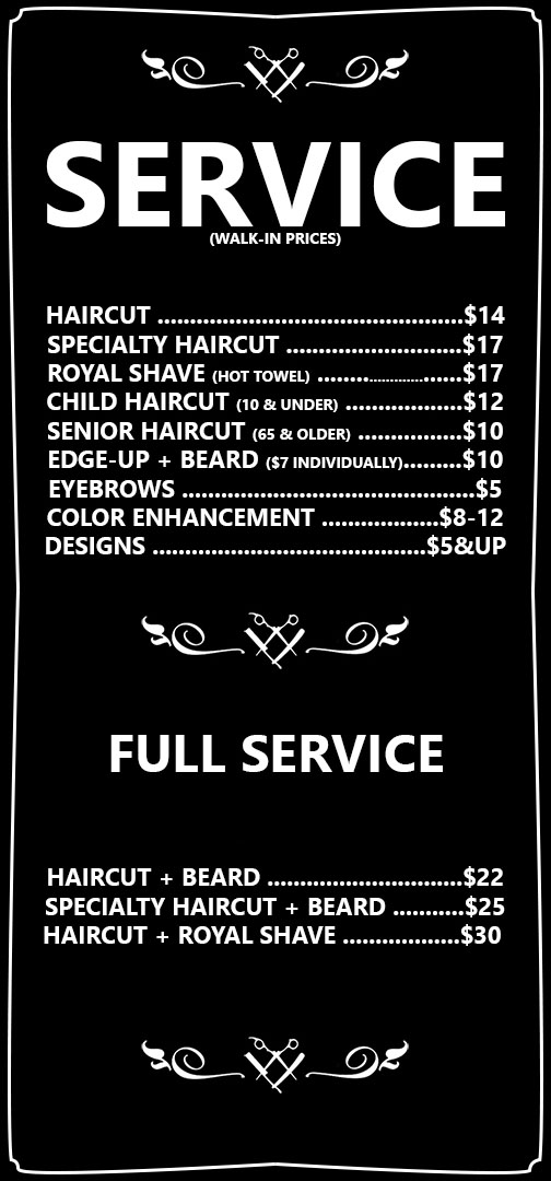 Barbershop Services menu