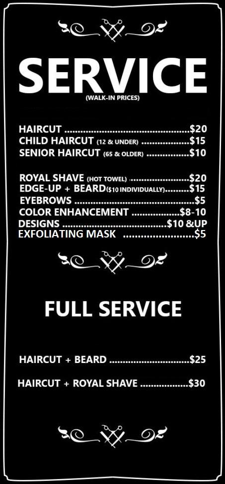Orange City Barber Service Prices