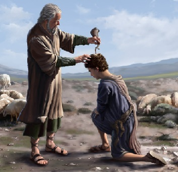 A man pouring oil on a young lads head kneeling before him_in the post_Anointing for Breakthrough by Dr David Oyedepo