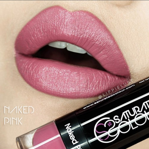 Saturated colour lipstick naked pink
