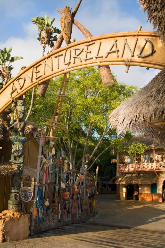 Adventureland Entrance sign from Hub