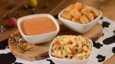 Tomato Basil Soup, Vegetable Macaroni Salat and Tater Tots