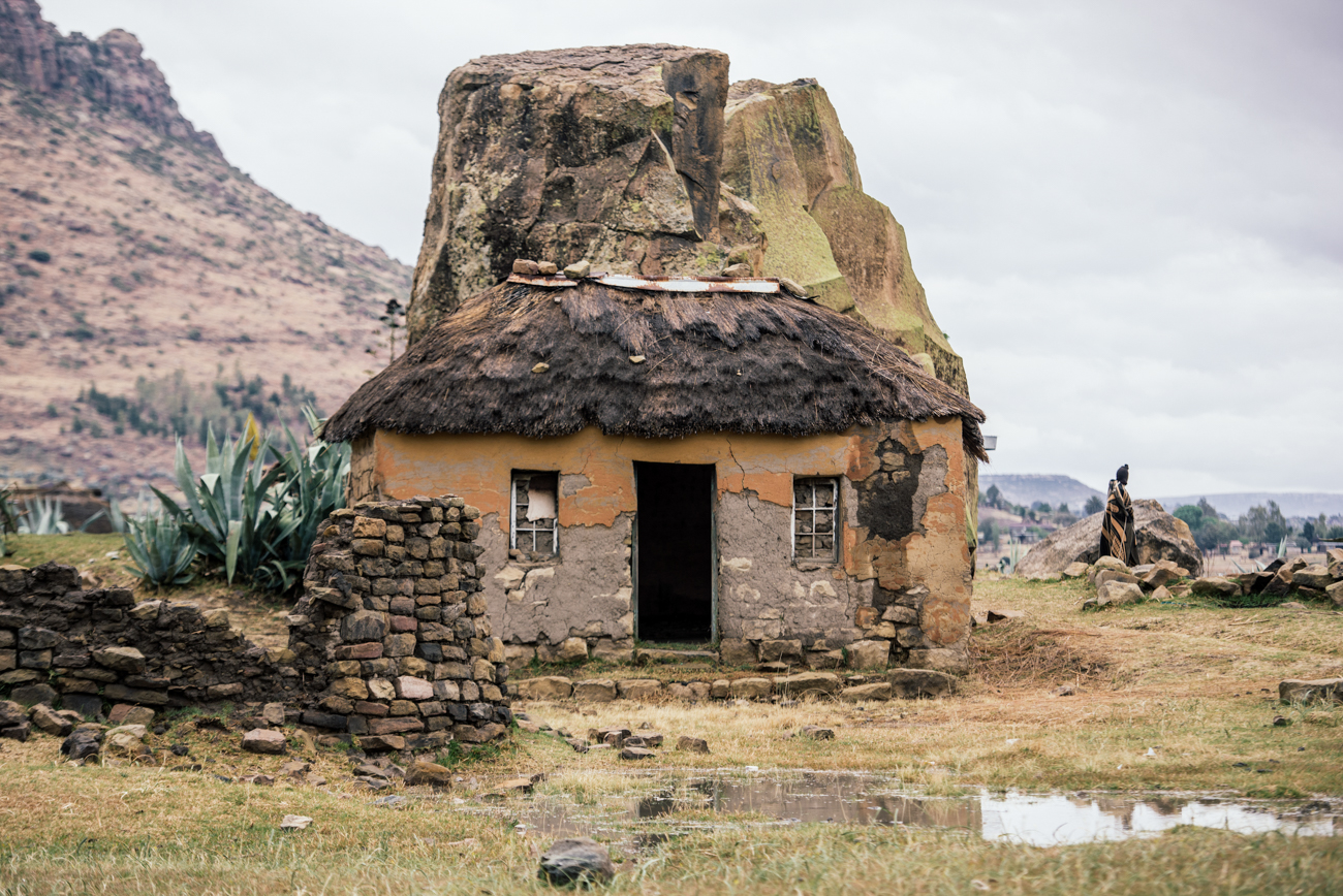 Traditional Lesotho hut during the Lesotho Sky