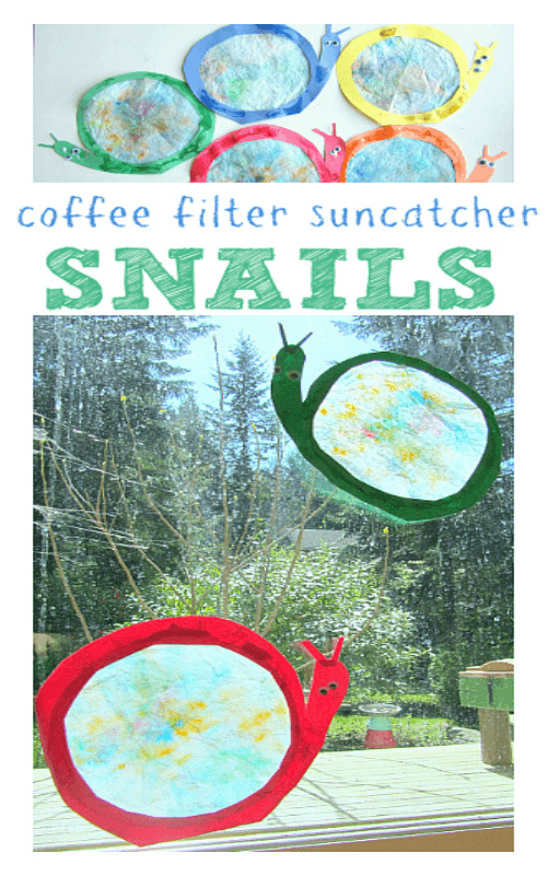 coffee filter snail suncatcher