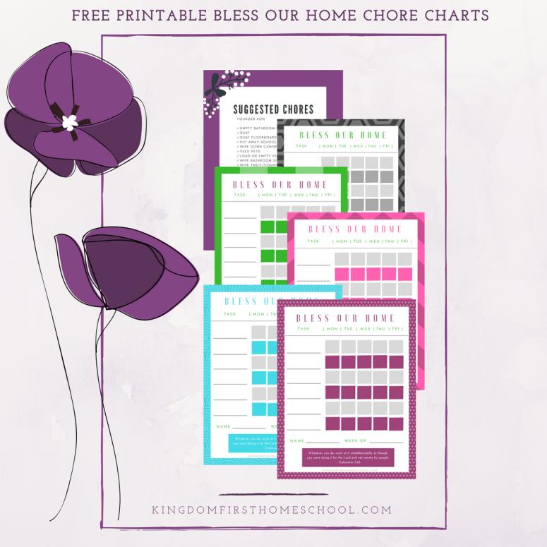 Free Printable Bless Our Home Chore Chart